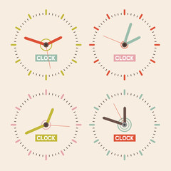 Abstract Retro Vector Clock Set Illustration