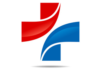 logo cross medical red blue