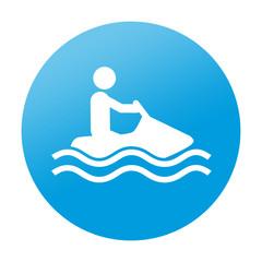 Etiqueta redonda moto acuatica