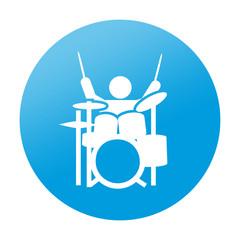Etiqueta redonda musico bateria