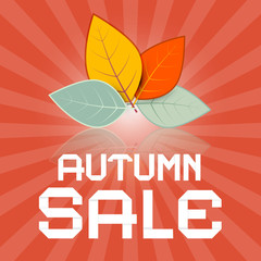 Autumn Sale Retro Vector Illustration with Leaves