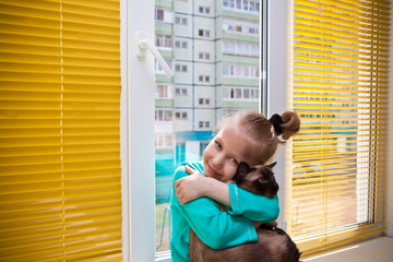 Девочка в обнимку с кошкой у окна