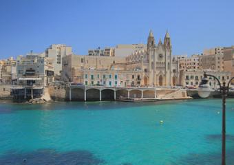 Church of Our Lady on embankment. Slim, Malta