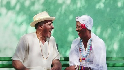 8of11 Portrait of happy old cuban black seniors smiling