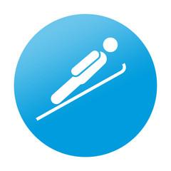 Etiqueta redonda salto de esqui