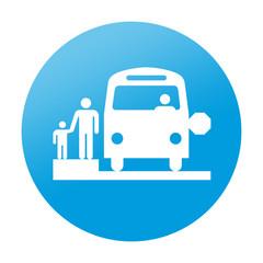 Etiqueta redonda autobus escolar