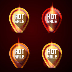 Hot Sale Stickers - Labels Set in Flames - Fire