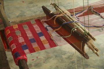 Loom weaving hand in Luang Prabang, Laos