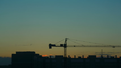 View of construction site at dusk. Time-lapse.