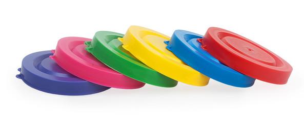 Colorful plastic lids for jars