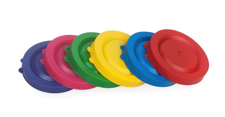 Colorful plastic lids for jars