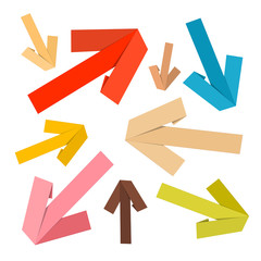 Vector Paper Arrows Set in Retro Colors