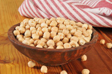 Bowl of dried garbanzo beans