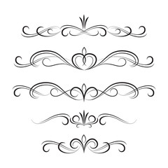 Black decorative curly elements and ornaments