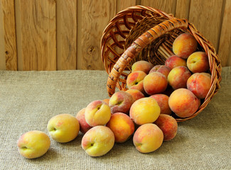 Peaches, spill out of the basket on the table.