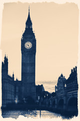Vintage Retro Picture of Big Ben
