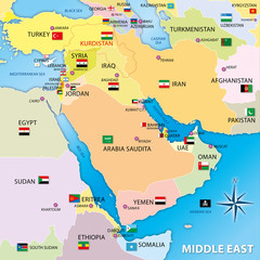 middle east regional map with flags