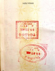 China visa stamps in a European Union passport