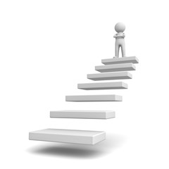3d man standing with arms crossed on top of steps or stair