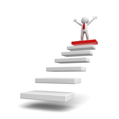 3d business man standing with arms wide open on top of steps