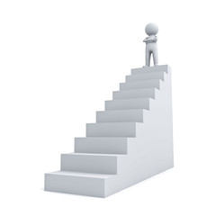 3d man standing with arms crossed up on top of stair