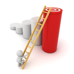 3d man climbing ladder to the goal target on top of red graph