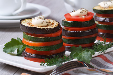 vegetarian of baked zucchini, tomatoes and aubergines