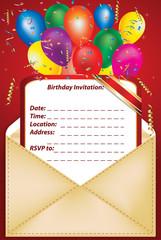 Birthday Party Invitation -Printable vector illustration