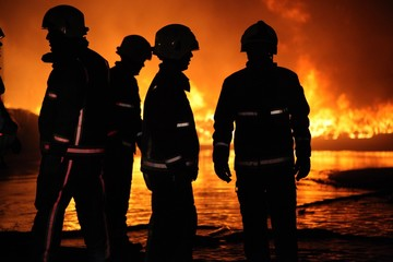 fire crew at large fire