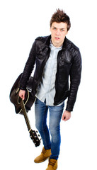 man in a leather jacket with a guitar