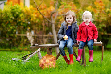Two sisters sitting on a bench on autumn day