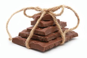 Dark chocolate on white background