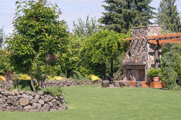 Stone Wall and Giant Fireplace