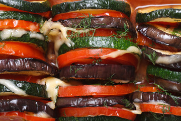 background of eggplant, zucchini and tomatoes baked