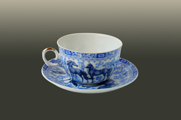 Cup with a blue pattern