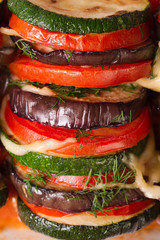 eggplant, zucchini and tomatoes baked macro vertical