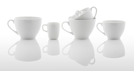 White coffee and tea cups (with PS paths)