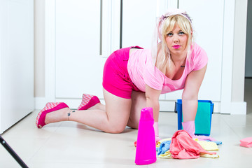 Beautiful woman at the cleaning