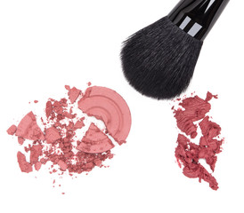 Compact and cream blush with makeup brush