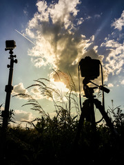 Sunset with cameras while takeing timelapse