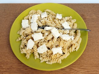 pasta with cottage cheese as vegetarian food