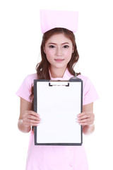 beautiful female nurse showing a blank report