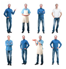 Collection man photos isolated on white background