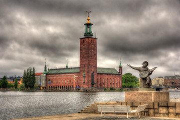 Evert Taube Monument and Stockholm city hall - Sweden
