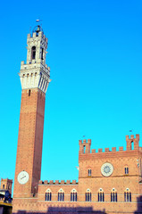 Campo Square with Mangia Tower in the background, Siena, Italy