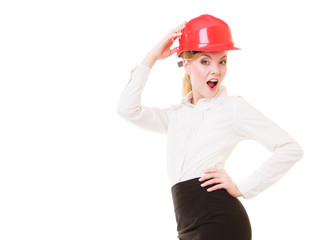 Female engineer woman architect in red safety helmet isolated
