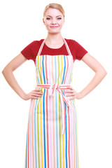 Young housewife or barista wearing kitchen apron isolated