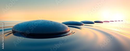 canvas print picture Steine im Wasser 3