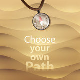 Vector Beach sand background with compass