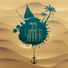 Vector summer illustration with yacht and palm trees